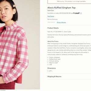 Alexis Ruffled Gingham Top by Anthropologie NWT!